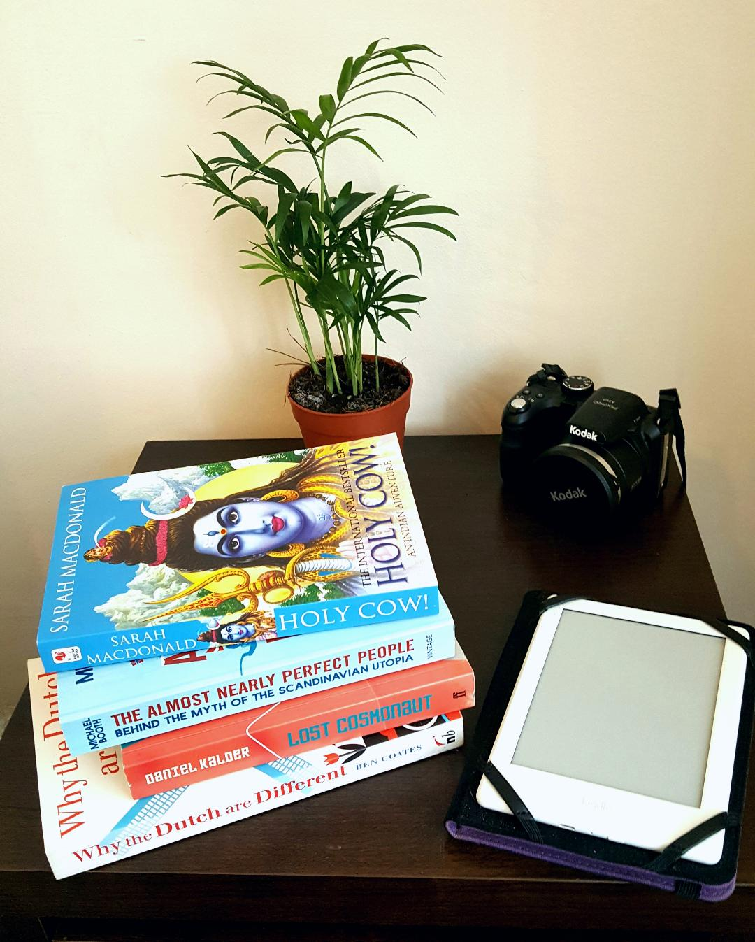 Travel from home kit including books, camera and kindle, for the travel blogger at home
